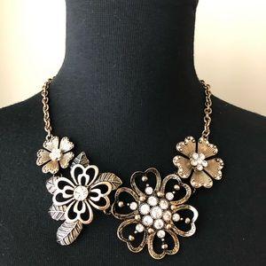 Premier Designs Gold Flower Bib Statement Necklace